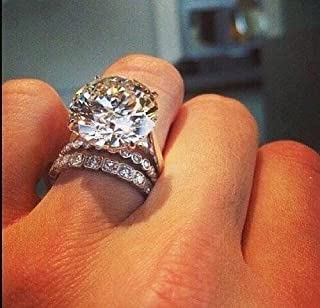 Zhiwen Gorgeous 925 Sterling Silver Women's White Sapphire Engagement Wedding Ring Set Size 6-10 (US Code 8)