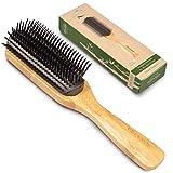 Detangling Hair Brush for Thick Curly Hair Men Women - 9 Rows Hair Bristle Brush - Detangler Brushes for Men's Women for Styling Hair - Wooden Hairbrush for Hair Growth