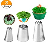 Genenic Icing Piping Nozzles Tips,3Pcs Stainless Steel Russian Grass Cream Tips DIY Decor Baking Tool for Cake Fondant Cupcake Buttercream Decoratio