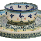 Polish Pottery - Cake Plate/Hors d'oeuvres combo - Butterflies in Flight - The Polish Pottery Outlet