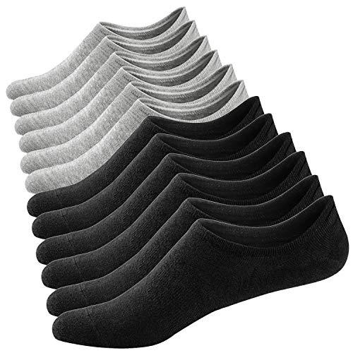 Ueither Damen Unsichtbare Sneaker Socken Baumwoll Kurzsocken Sport Socken für Loafers Boots Schuhe mit Rutschfest Silikon (Schuhgröße:36-43, Farbe 3)