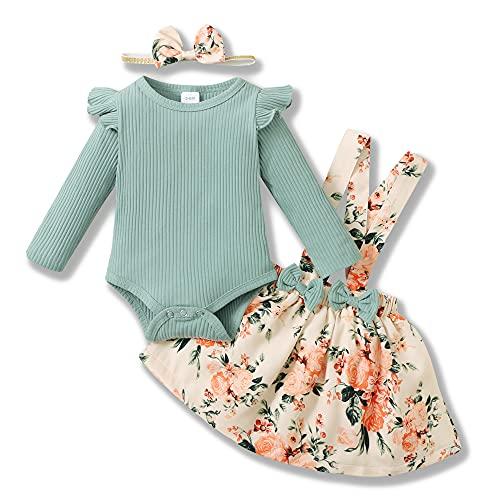 SANMIO 3 piezas Conjunto de Ropa Bebé Niña (0-18 meses) Manga Larga Volantes Mameluco + Falda de Tirantes Florales + Diadema Ropa Bebe Recien Nacido
