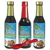 Coconut Secret Coconut Aminos Bundle - Includes (2) COCONUT AMINOS SOY-FREE SAUCE, 8 fl Oz and (1) COCONUT AMINOS TERIYAKI SAUCE, 10 fl Oz. BONUS: SFP Double Sided Measuring Spoon Included