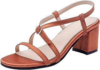 FANIMILA Women Fashion Block Heel Sandals Strap