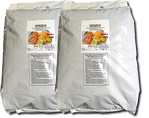 Neem Italia Concime per Agrumi Limoni Arance ECC. / Acidofile Organico Professionale 6-6-10 +2% magnesio (20Kg - 2 Sacchi da 10KG)