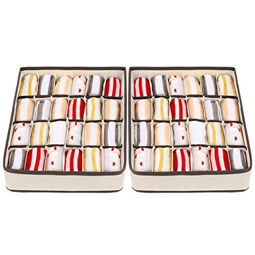 joyoldelf - Scatola a Scomparti, Pieghevole per cassetti, 2 Confezioni, 24 scompartimenti, organizzatori per Biancheria Intima, scatole per riporre Calzini, Reggiseni, fazzoletti (Bianco)
