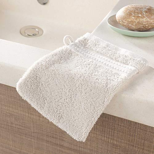 2 gants de toilette 15 x 21 cm eponge unie excellence lin