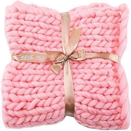 Manta de punto grueso manta acogedora gigante hilado grueso suave tejido a mano de la manta del sofá tiro de la cama for el hogar Decoración Año Nuevo estera del animal doméstico hermoso regalo 80x80c