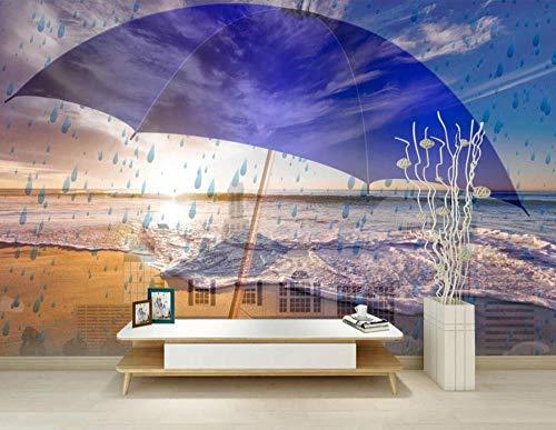 Fototapete 3D Effekt Benutzerdefinierte Wandtapete Wandbilder Schlafzimmer Wohnzimmer Tapete Vliestapete Wanddeko/Blauer Lila Regenschirm-Regentropfenstrand 350cmX256cm