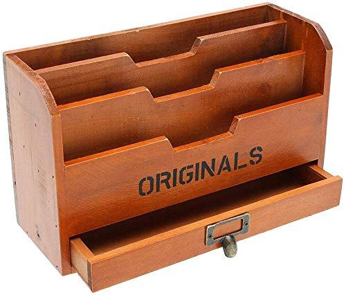 Zeaih Houten Opbergdoos, Brief Rack Vintage Houder Post Mail Papier Kaartorganisator, Rolling Lade Stash Box voor Home Office