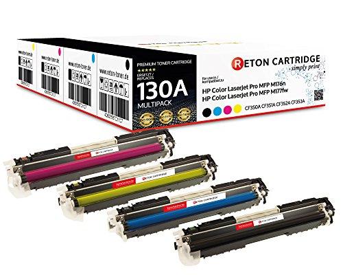 4 Original Reton Toner | 30% höhere Reichweite | kompatibel zu CF350A, CF351A, CF352A, CF353A HP 130A für HP Color Laserjet Pro MFP M176N, M177FW, M177, M176