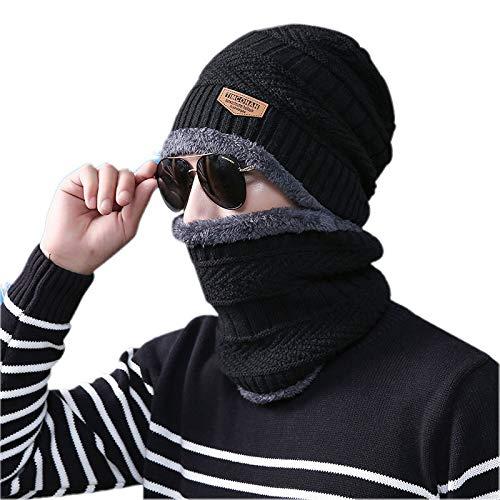 ADBUCKS Snow Proof Inside Fur Wool Unisex Beanie Cap with Neck Warmer Set Knit Hat Thick Fleece Lined Winter Hat for Men & Women