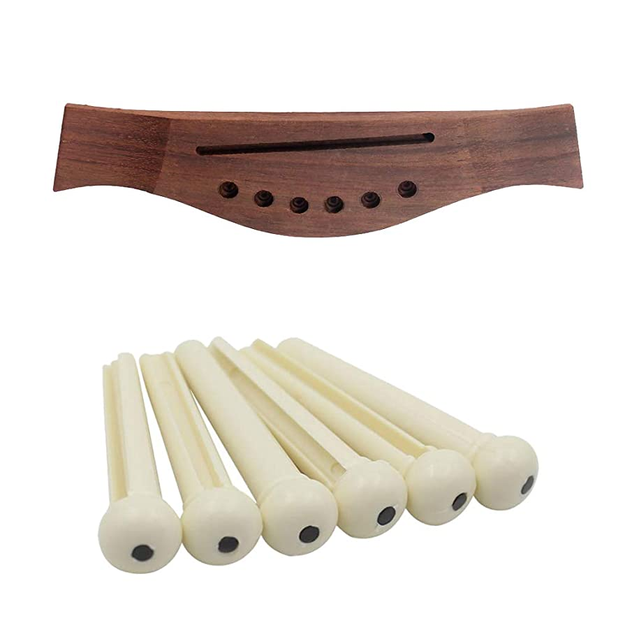 kesoto White Acoustic Guitar Bridge Pins String Peg with Rosewood Bridge Kit
