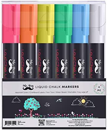 Mr Pen Chalk Markers 6 Pack Dual Tip Assorted Color 8 Labels Chalk Markers for Blackboard Liquid product image