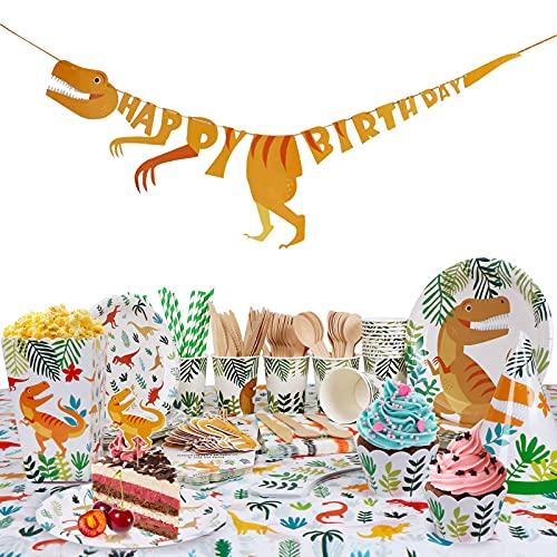 UHAPEER Set fiesta cumpleaños dinosaurios, accesorios fiestas jóvenes, decoración para 16 invitados, vajilla desechable con mantel, pancartas, tazas, platos, cupcakes, tarjetas de invitación