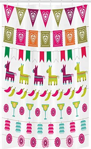 ABAKUHAUS Fiesta Schmaler Duschvorhang, Lateinische Motive Pfeffer, Badezimmer Deko Set aus Stoff mit Haken, 120 x 180 cm, Mehrfarbig
