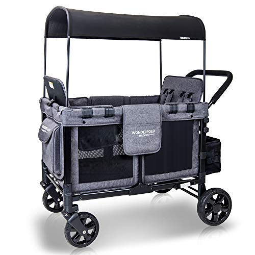 WONDERFOLD W4 4 Seater Multi-Function Quad Stroller Wagon with Removable Raised Seats and Slidable Canopy, Gray