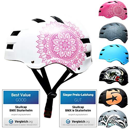 Skullcap® Skaterhelm Erwachsene Weiß Mandala - Fahrradhelm Damen ab 14 Jahre Größe 58-61 cm - Scoot and Ride Helmet Adult White - Skater Helm für BMX Inliner Fahrrad Skateboard