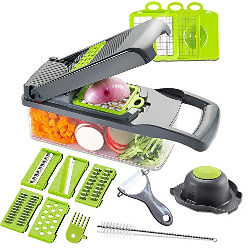 Mandoline Slicer Adjustable Cheese SlicerVegetable Chopper Hand SpiralizerPotato Spiral Cutter Garlic Onion Dicer Fruit PeelerVeggie SlicerPasta Zucchini Noodle MakerSalad ShooterFood Processor
