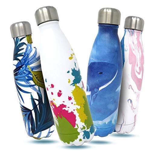 Bottles Empire Bouteille d'eau isotherme sous vide et thermos – 12 heures chaud/24 heures froid, double paroi en acier inoxydable 18/8 pour enfants, sport, extérieur avec brosse de nettoyage (eau rose, 500 ml)