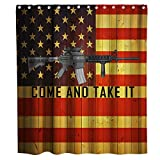 M4 Rifle Stripe Flag Shower Curtain Gun Carbine Weapon Theme Fabric Bathroom Decor Sets with Hooks Waterproof Washable 72 x 72 inches red Yellow and Grey…