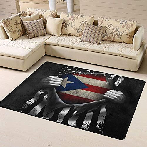 Fashion Area Rugs American Puerto Rico Flag Pull Apart Black Durable Home Decor Carpets for Living Room - Lightweight Cozy Flannel Floor Mat Multipurpose Non-Slip and Quickly Dry Bathroom Rugs