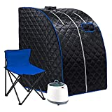 Portable Steam Sauna Spa, 2L Personal Home Spa with Remote Control, Steam Pot and Folding Chair for Weight Loss Detox Reduce Stress Fatigue (Black)