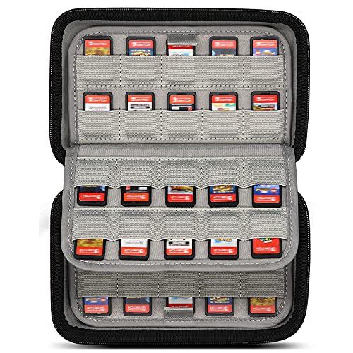 Sisma Custodia rigida per 80 cartucce di gioco Nintendo Switch o Schede SD, Porta giochi con protezione elastica per cartucce, Nero