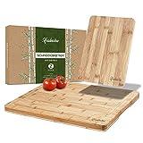 HADEWOO - Juego de tablas de cortar de madera [2] – Certificado FSC – Diferentes tamaños de tablas y muescas (madera)