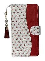 ZenFone 3 Deluxe ZS570KL ケース 手帳型 財布 スタンド ミラー ストラップ PUレザー マグネット 花 レディース 女性 レッド ホワイト 赤 白