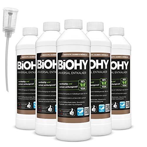 BiOHY Descalcificador universal (6 botellas de 500 ml) + dosificador, concentrado para 20 procesos de descalcificación por botella, compatible con todas las cafeteras automáticas y de espresso