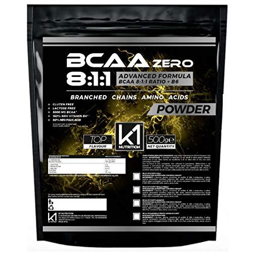 BCAA 8:1:1 500 gr K1 Nutrition Integratore di Aminoacidi Ramificati 811 in polvere con Vitamina b6 Advanced Leucine Formula - GLUTEN FREE - SENZA LATTOSIO - NON OGM - (500 gr. Polvere GUSTO ARANCIA)