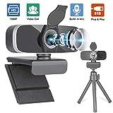 Webcam 1080P, PAPALOOK AF925 con Enfoque Automtico y Micrfono de Reduccin de Ruido,Diseo Plegable, Giratorio de 360 Grados, Cmara de la Computadora Porttil USB - Negro