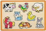 Joueco - Puzzle (8 unidades), diseño de granja, color naranja