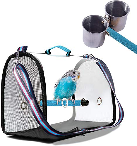 Bird Carrier with Perch and Feeding Cups,Portable Bird Travel Cage Lightweight Breathable,Bird Backpack for Parrot
