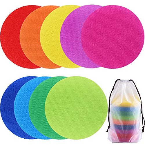 SIQUK 63 Pieces Spot Markers Carpet Markers Sitting Spots Hook and Loop for Classroom, 9 Colors