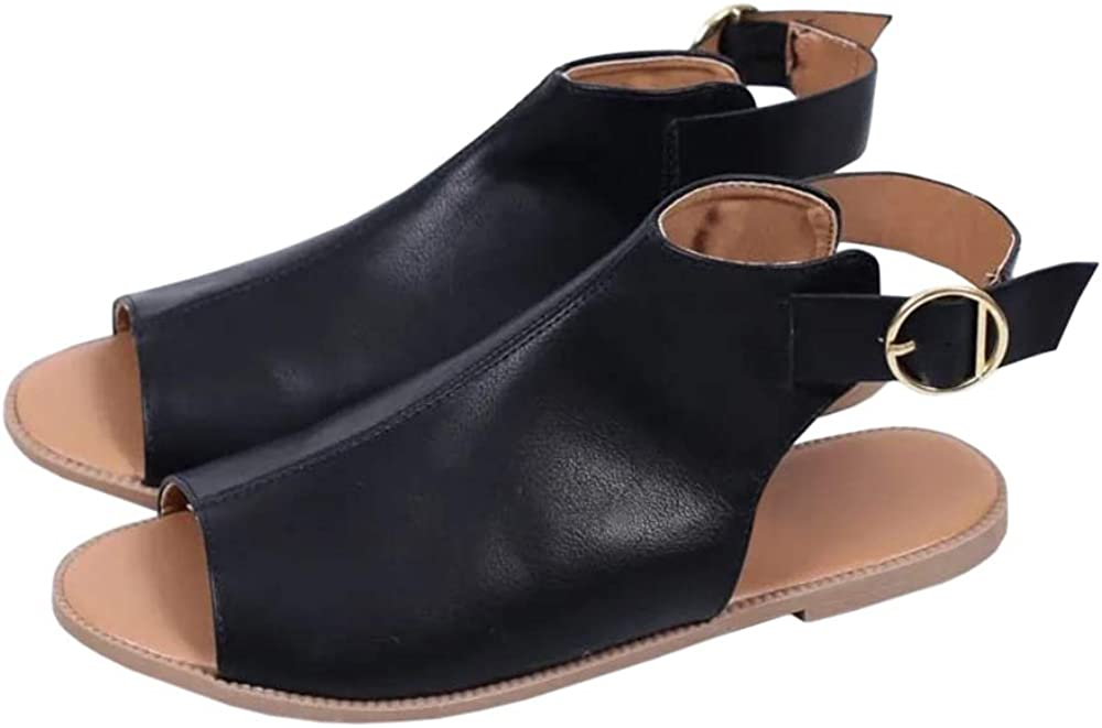 Huiyuzhi Womens Open Toe Flat Sandals Cut Out Slip On Back Zipper Leather Sandals Casual Summer Shoes