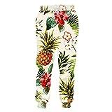 Parejas de Moda Pantalones Deportivos Hombres Mujeres Pantalones Largos Fruta Piña Flores Pantalones Casuales con Estampado 3D Pineapple Flower XL