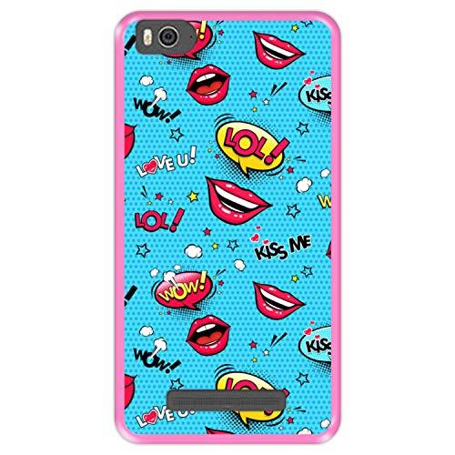 Hapdey silikon Hülle für [ Xiaomi Mi 4c - Mi 4i ] Design [ Musteretiketten, Lippen, Herz & Wolken ] Rosa Flexibles TPU