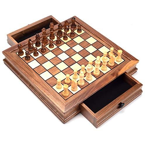 COTEN Ajedrez Internacional Juego de ajedrez de Viaje magnético, ajedrez con Tablero de cajón de Almacenamiento portátil, Juguetes educativos Acción de Gracias (tamaño : 32cm)