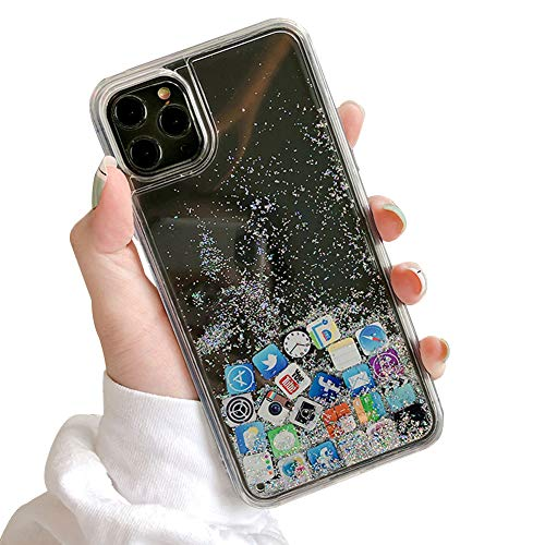 SECOWEL Unique Liquid Glitter Phone Case Cover Hard Back Silver Bling Quicksand with iOS Icon Apple APP Soft Rubber TPU Bumper for Girls Women Fashion Design Protective Case (for iPhone 12Pro Max)