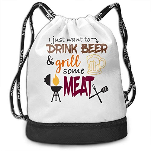 hengshiqi Rucksack Schultasche,Backpack, Gymsack I Just Want to Drink Beer & Grill Some Meat Print Drawstring Bags - Simple Gym Shoulder Bags