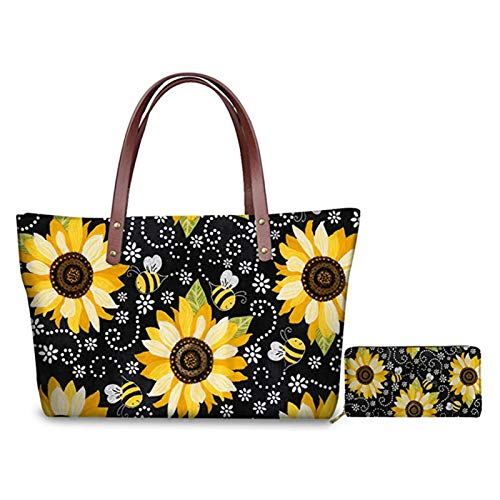 Hugding Vivid Sunflower Bee Print Cute Animal Plant Women 2 Piece Top-handle Bag and ID Card Holder, Travel Sport Shopping Work Pouch With Shoulder Strap
