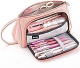 Estuche Escolar Rosa para Lápices Estuche Multifunción con Cremallera Bolsa de Papelería Bolsa de Almacenamiento Bolsa de Cosméticos Gran Capacidad (ROSA)