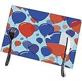 Beryl Shop Mesa de Comedor Manteles Individuales Día Nacional de Chile Celebración de Vuelo Plano Globos en Colores de la Bandera chilena Felices manteles