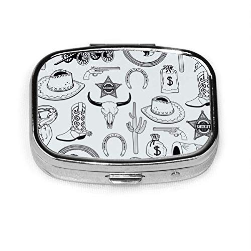 Cowboy Seamless Pattern Image Custom Personalized Square Pill Box Decorative Box Vitamin Container Pocket Or Wallet