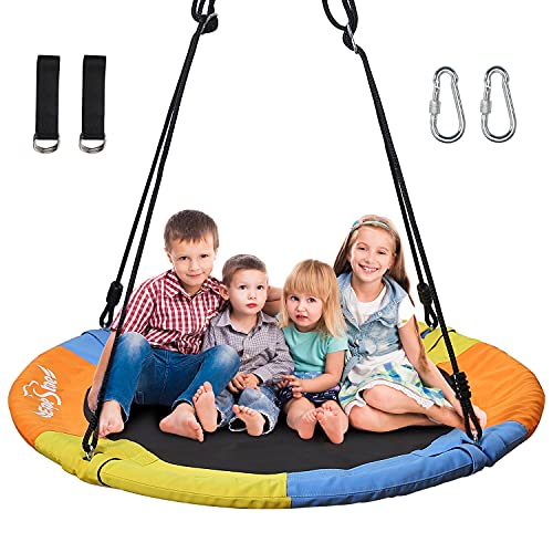 """EagleStone ES14 40"""" Saucer Tree Swing for Kids Adults, Round Swing Set Accessories with 360° Rotate Adjustable Rope, Support 660lb Colorful Safe and Durable Swing Seat for Backyard, Garden, Playroom"""
