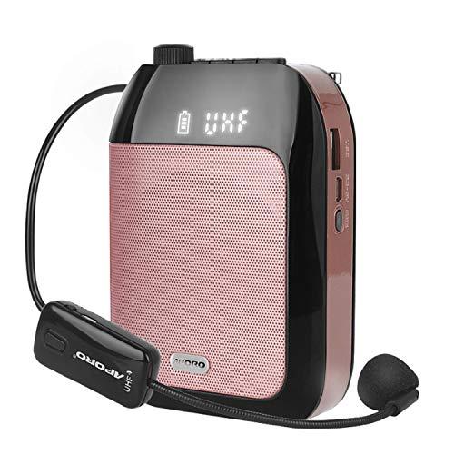 拡声器 無線拡声器 BlueTooth技術内蔵 ワイヤレスポータブル拡声器 ハンズフリー拡声器 ワイヤレスマイク付属 音楽再生/ラジオ放送/拡声/対応 高音質 USB充電式 TF/SDカード対応 (ピンク)