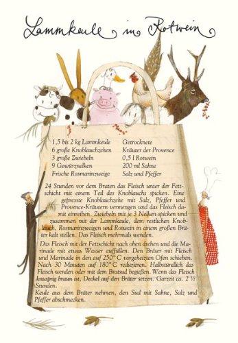 Grätz Verlag Kulinarischer Gruß Rezept-Klappkarte mit Umschlag,Lammkeule in Rotwein
