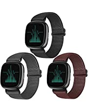 Zoholl Band Compatibel met Fitbit Versa 3 & Sense Strap, Lichtgewicht Streep Nylon Stof Geweven Bands Vervanging Armband Polsband Band voor Fitbit Sense/Versa 3 Smart Watch (3 PACK)